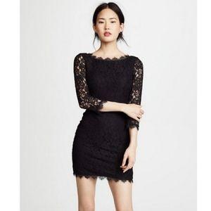 DIANE VON FURSTENBERG Zarita Black Lace Dress